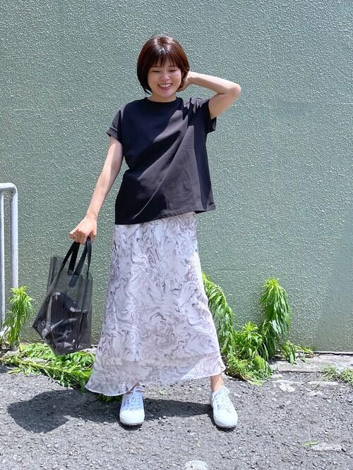 フレンチカットソー×ロングスカート