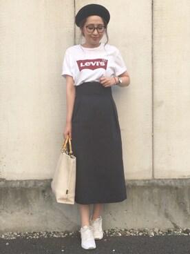 maiko さんの「<LEVI'S>ロゴTシャツ(BEAUTY&YOUTH UNITED ARROWS|ビューティアンドユースユナイテッドアローズ)」を使ったコーディネート