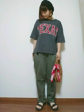 "yuu is wearing earth music&ecology ""USA COTTONチノパンツ(テーパード)"""