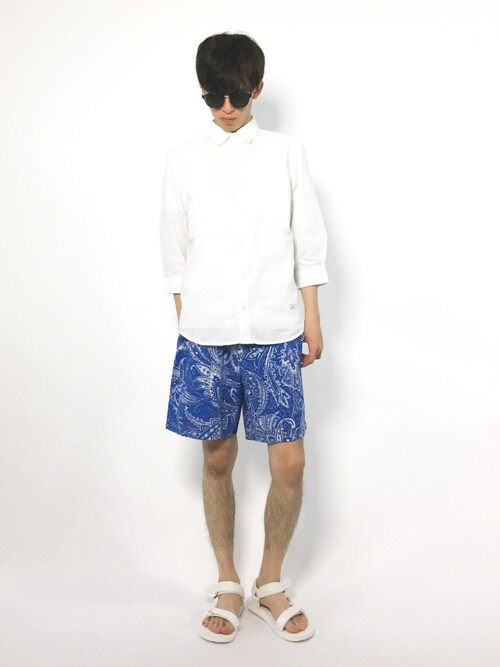 hiroさんの「リネンコットン七分袖シャツ(AZUL BY MOUSSY)」を使ったコーディネート