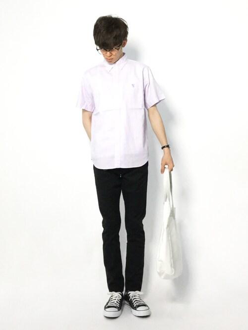 hiroさんの「オックスボタンダウンショートスリーブシャツ(coen)」を使ったコーディネート