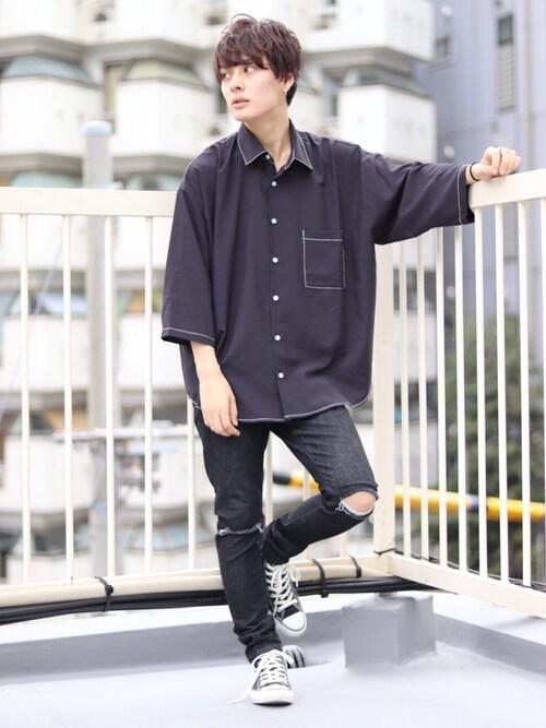 kutir_menさんの「super big shirt / スーパービッグシャツ 8分袖(kutir)」を使ったコーディネート