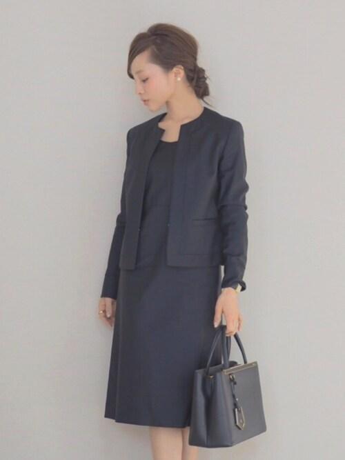 紺のセレモニースーツ 保育園お別れ会の服装 30代ママ