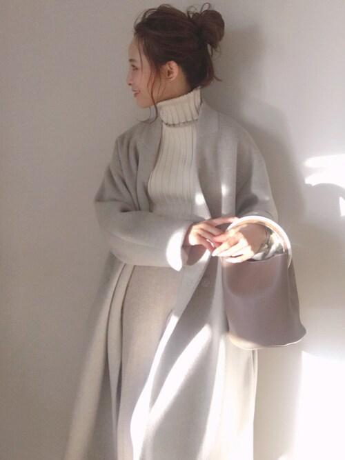 田中亜希子さんの「LANA WOOL 140 ビーバーノーカラーコート_#(JOURNAL STANDARD relume|ジャーナルスタンダード レリューム)」を使ったコーディネート