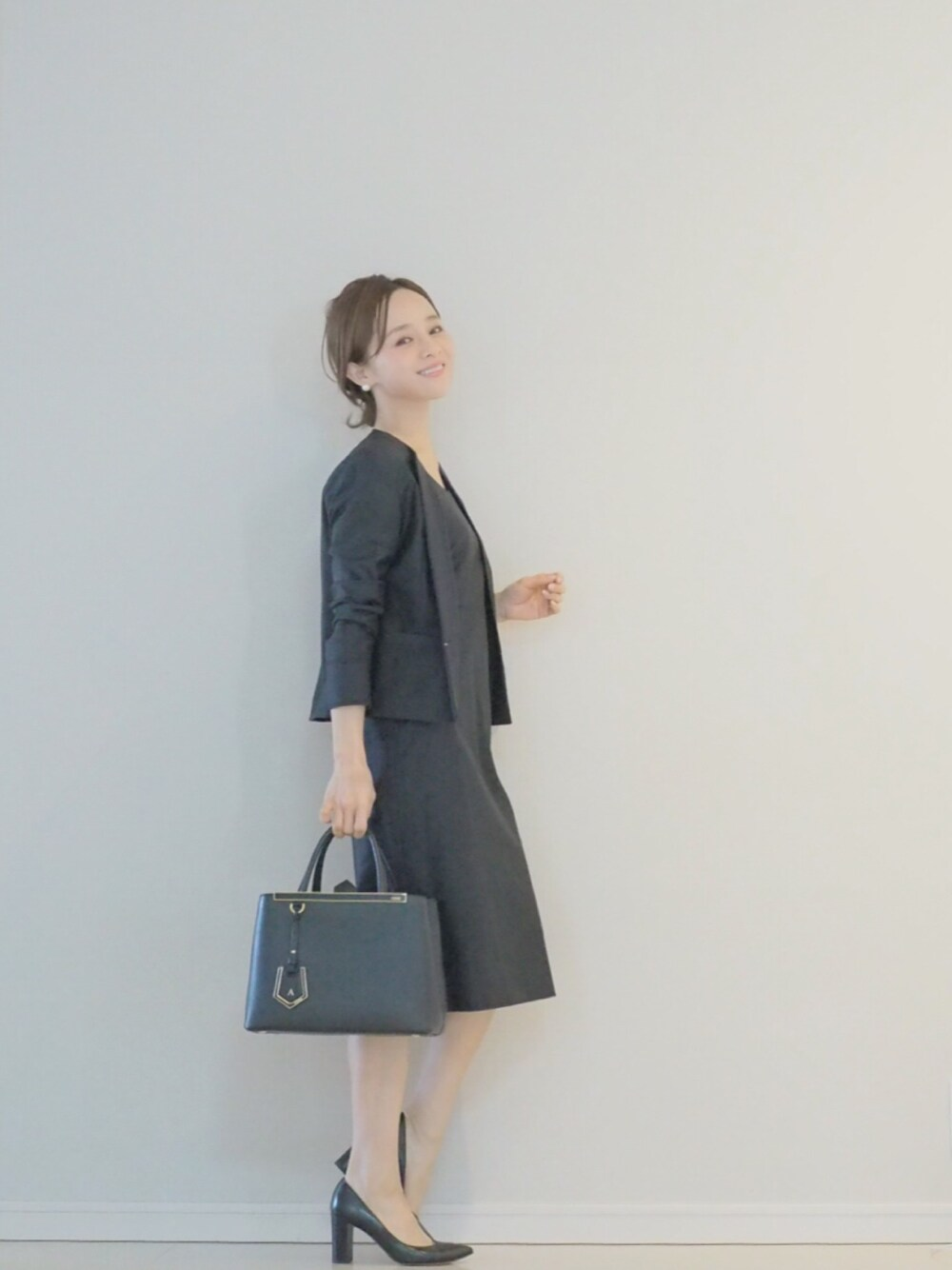 ママ ファッション 受験 準礼装 セミフォーマル ネイビー