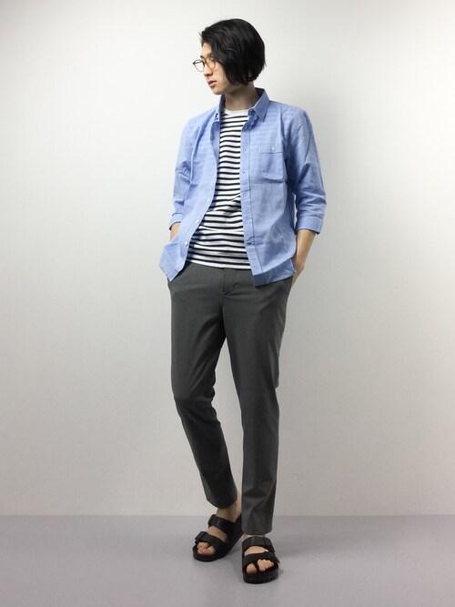 ZOZOTOWNYudai Ishiiさんのシャツ/ブラウス「7分袖 コットンリネンシャツ アロハシャツ(Rocky Monroe|ロッキーモンロー)」を使ったコーディネート