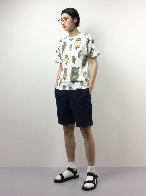 ZOZOTOWNYudai IshiiさんのTシャツ/カットソー「ビッグペイント  Tee / ハッピーペイント Tee(gym master|ジムマスター)」を使ったコーディネート
