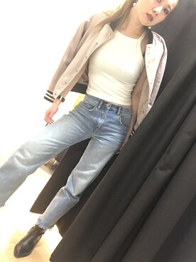 ALLSAINTS|Risaさんの「MAZZY CROPPED WIDE JEANS(ALLSAINTS)」を使ったコーディネート