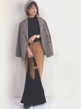 yunさんの「【小泉里子さん着用】スウェードタイトスカート(TONAL|トーナル)」を使ったコーディネート