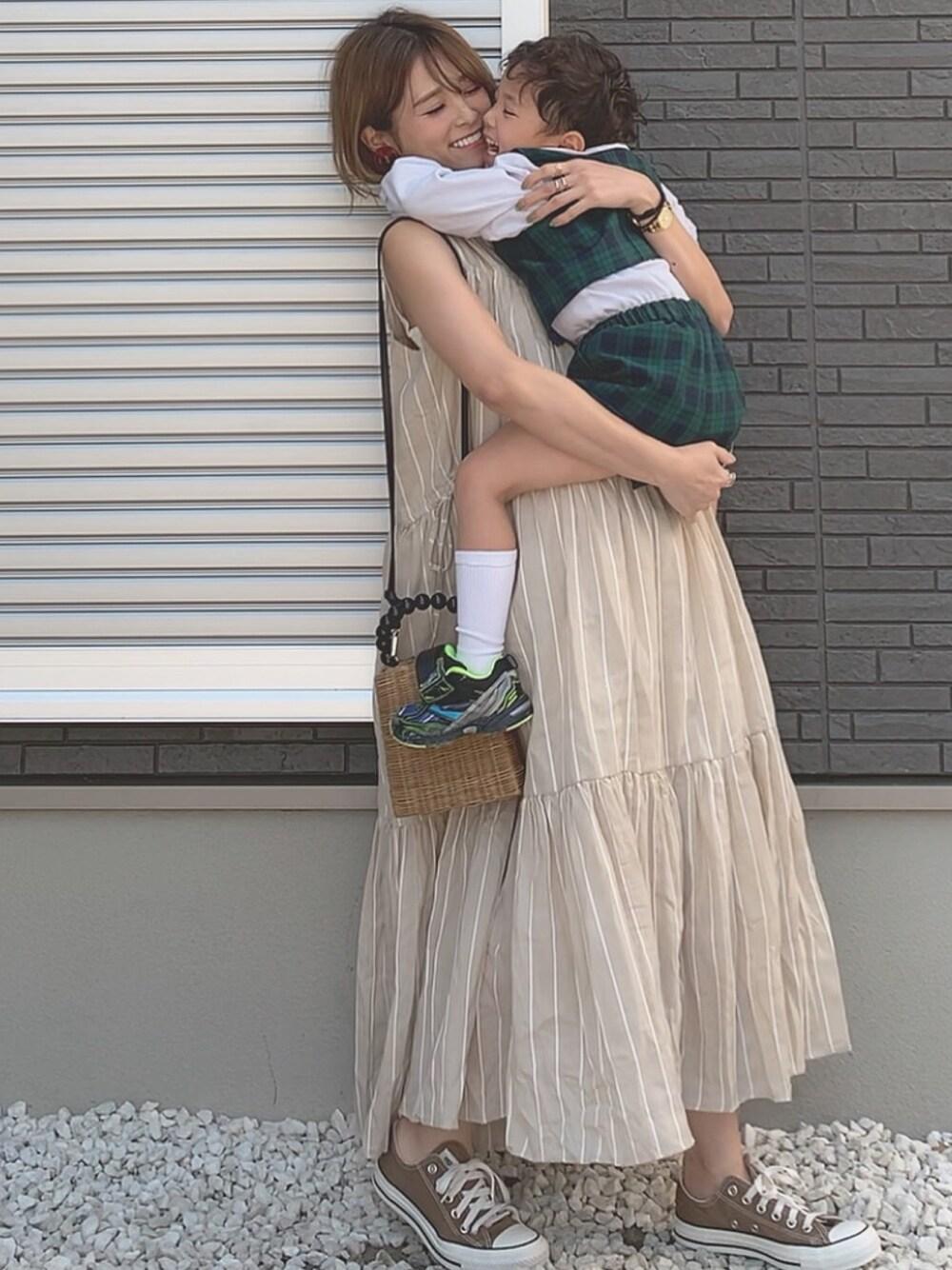 遊園地 ママコーデ テーマパーク ファッション 30代 40代 ティアードワンピ titivate