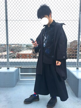 かずささんの「【my beautiful landlet】 typewriter cloth BIG shirt dress(my beautiful landlet)」を使ったコーディネート