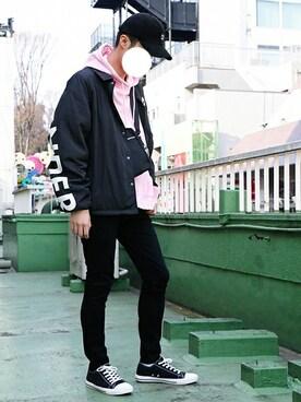 WEGO|ウィゴーのパーカー(ピンク/桃色系)コーディネート
