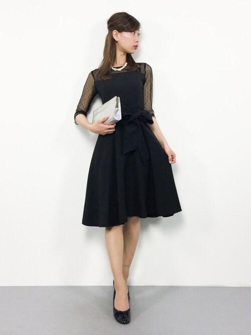 ZOZOTOWNKIIさんのドレス「【WEB限定】ドットチュールベルトワンピース777398(Andemiu|アンデミュウ)」を使ったコーディネート