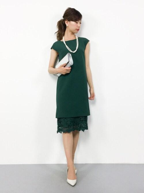 ZOZOTOWNKIIさんのドレス「【WEB限定】スソレースIラインワンピース785808(Andemiu|アンデミュウ)」を使ったコーディネート