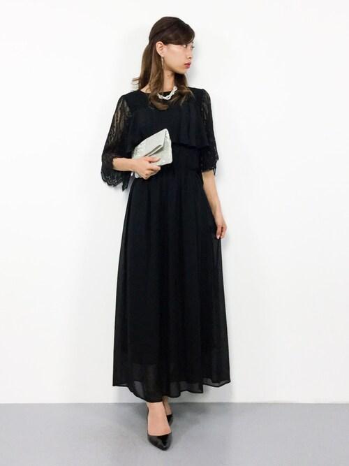 ZOZOTOWNKIIさんのドレス「フレアレース袖カシュクールロングワンピース・結婚式パーティードレス(Primazel|プリマゼル)」を使ったコーディネート