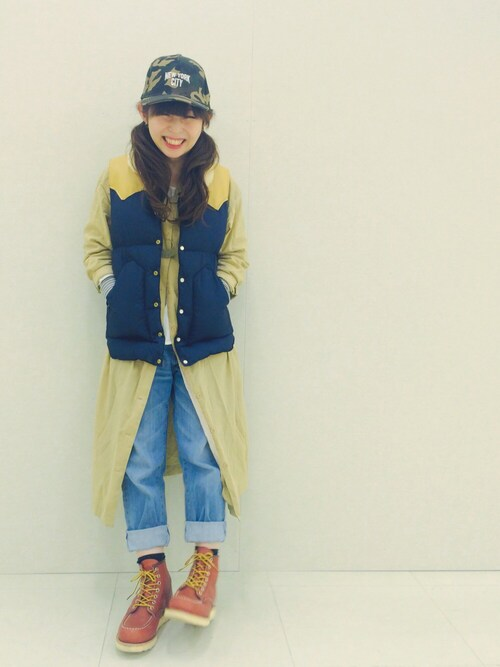 junさんの「ROCKY MOUTAIN FEATHERBED / ロッキーマウンテンフェザーベッド: CRISTY VEST / ダウンベスト #(Rocky Mountain FeatherBed)」を使ったコーディネート