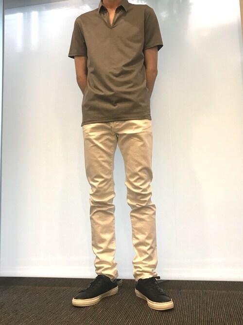 アットシェルタABAHOUSE ONLINE MENSさんのポロシャツ「【定番人気】モクロディスキッパーポロシャツ(5351 POUR LES HOMMES|ゴーサンゴーイチプールオム)」を使ったコーディネート