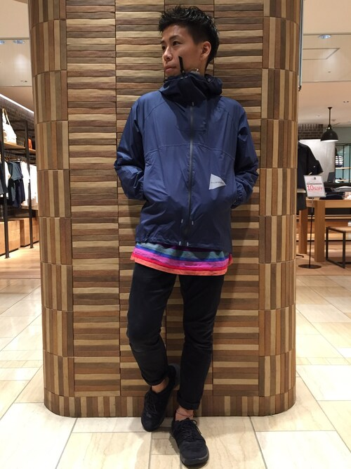 funatoさんの「and wander/アンドワンダー light rain jacket 2(and wander)」を使ったコーディネート