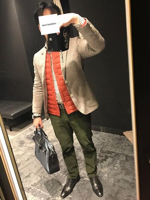 クラシコエアーさんの「ウールリネン ジャケット Light grey(LARDINI)」を使ったコーディネート