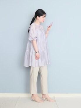 まいさんのシャツ/ブラウス「【WEB限定】前後2WAYバックティアードチュニック(Discoat ディスコート)」を使ったコーディネート