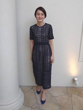 19e2a3d3f72da ayakoさんのドレス「LADYジオメトリックレースドレス(LAGUNAMOON|ラグナムーン)