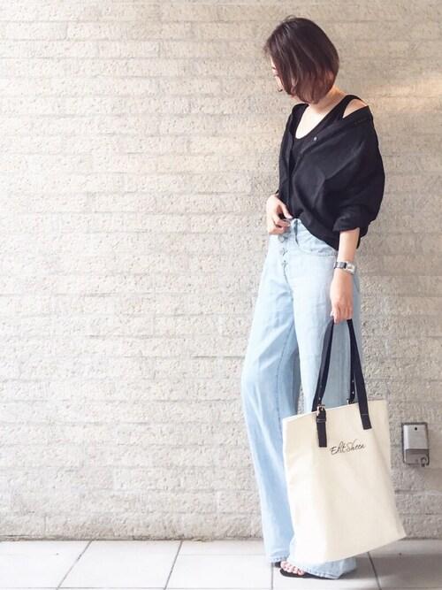 nanaさんのトートバッグ「縦型キャンバスロゴトートバッグ(Edit Sheen|エディットシーン)」を使ったコーディネート