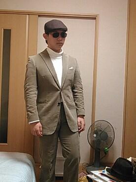 ハンチング・ベレー帽を使った「スーツ」のメンズコーディネート