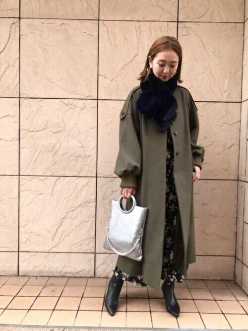 ROSE BUD 札幌店ROSE BUD STAFFさんのその他アウター「(mici)ノーカラーコート(mici ミチ)」を使ったコーディネート