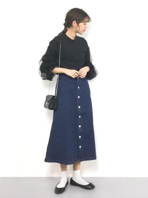 ZOZOTOWNyukiさんのシャツ/ブラウス「シフォンチュール切替ブラウス(mysty woman|ミスティウーマン)」を使ったコーディネート