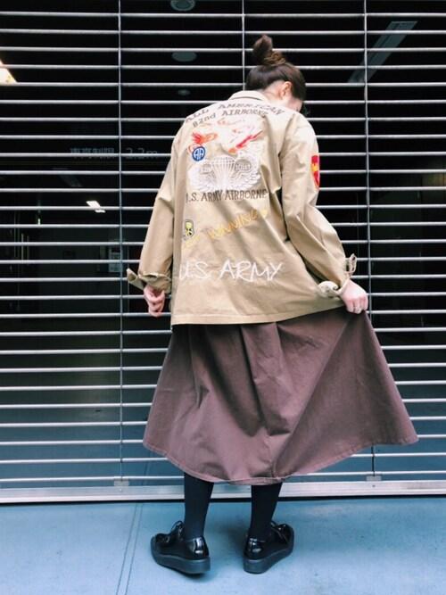 AVIREX 渋谷yurika   muroiさんのスカート「【直営店限定】AVIREX/ アヴィレックス/ グルカ スカート/ GURKHA SKIRT(AVIREX|アヴィレックス)」を使ったコーディネート