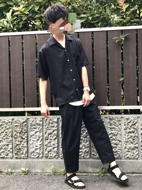 Kaiさんの「【WEB限定】STUDIOUS フィブリルサテンオープンカラーシャツ(STUDIOUS)」を使ったコーディネート