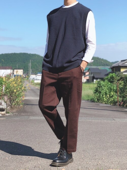 fumiyaさんのシャツ/ブラウス「ブロードバンドカラー長袖シャツ(ZIP FIVE|ジップファイブ)」を使ったコーディネート