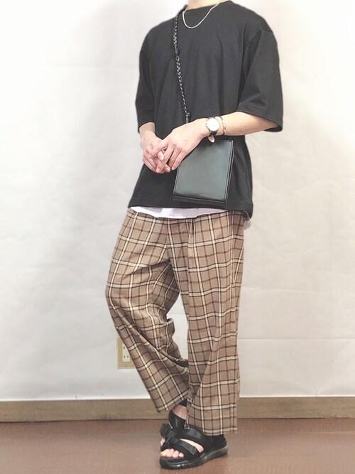 fumiyaさんの「エアリズムコットンオーバーサイズTシャツ(5分袖)(ユニクロ)」を使ったコーディネート