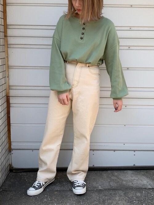 apres jour52tanさんのTシャツ/カットソー「ヘンリーネックワッフルトップス【ZOZOTOWN限定アイテム】(apres jour|アプレジュール)」を使ったコーディネート