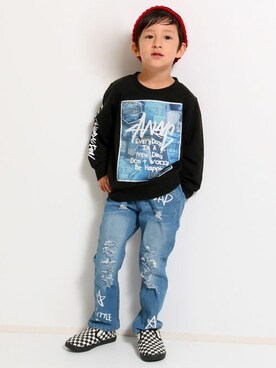 fe2632a1a3b1dd ANAP Online Official ANAP KIDS Officialさんの「デニムパッチワークプリントスウェット(