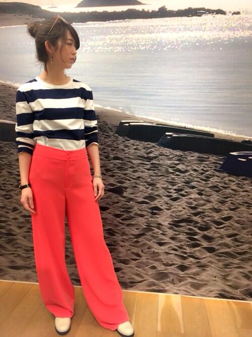 アニエスベー 青山店agnes b. AoyamaさんのTシャツ/カットソー「J019 TS ボーダーTシャツ(agnes b.|アニエスベー)」を使ったコーディネート