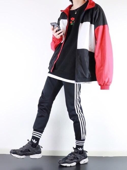 ぴたんさんの「【別注・コラボ】ZIP FIVE × KANGOL 切替ナイロンビッグジャケット(KANGOL)」を使ったコーディネート