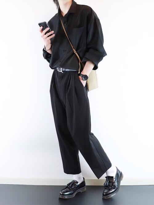 ぴたんさんの「ファッションインフルエンサー SHOTA × INTER FACTORY コード付きシャツ(INTER FACTORY)」を使ったコーディネート