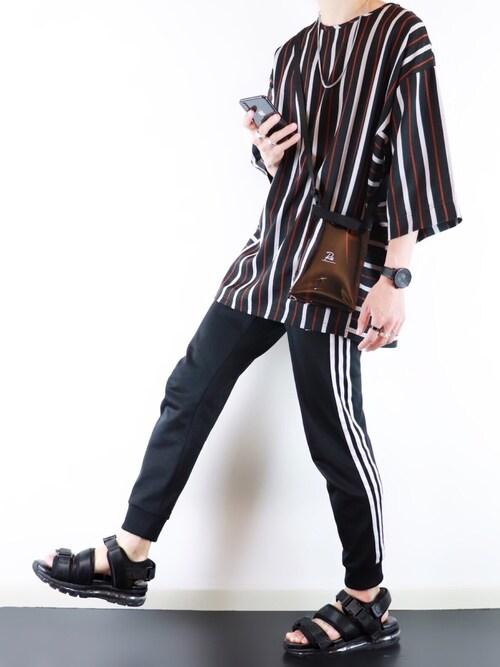 ぴたんさんのTシャツ/カットソー「Casper John ストライプビッグT(Casper John|キャスパージョン)」を使ったコーディネート