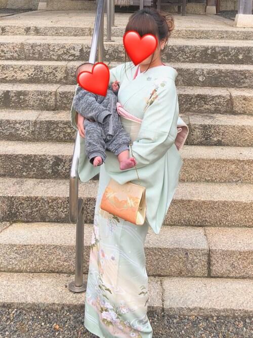春夏 お詣り写真 水色 着物 和服