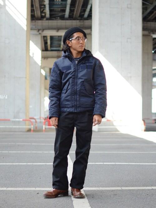 Schott TOKYO-BAYRYOHEI  TOTOKIさんのミリタリージャケット「Schott/ショット/CWU HOODED JACKET/フーデッド ジャケット(schott ショット)」を使ったコーディネート