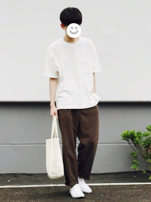 kitsuneさんの「MEN ビッグシルエットポケ付きT(半袖)(ユニクロ)」を使ったコーディネート