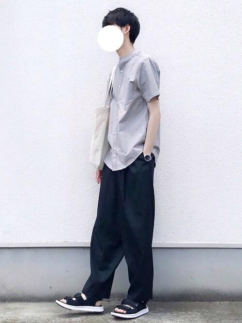 kitsuneさんのシャツ/ブラウス「Authentic Oxford Shirt オックスフォードストレッチシャツ バンドカラー 半袖/7分袖(EMMA CLOTHES|エマクローズ)」を使ったコーディネート
