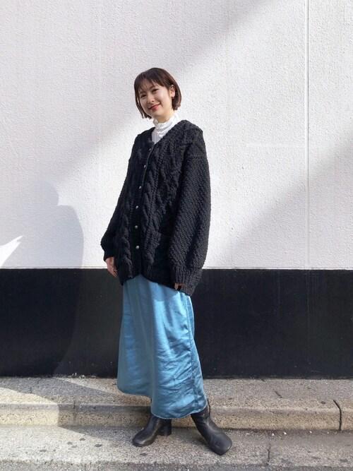 Kastane 新宿店Kawasumi  Tomomiさんのニット/セーター「柄編みハンドニットカーデ(Kastane|カスタネ)」を使ったコーディネート