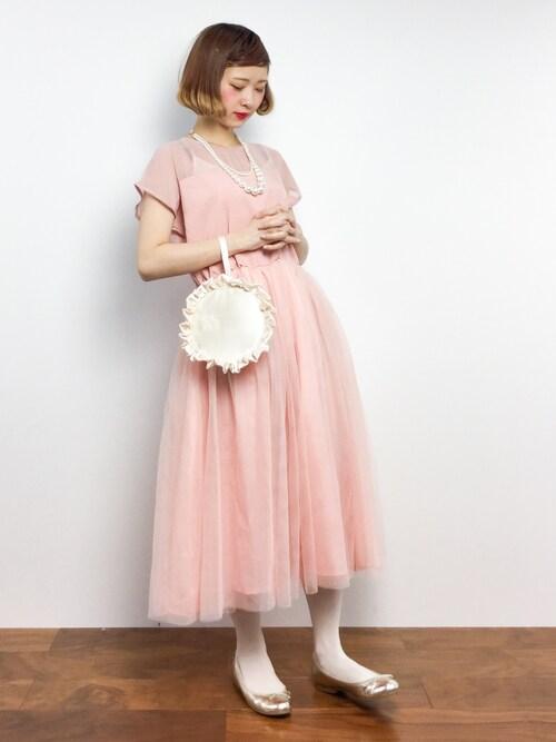 結婚式ピンクドレスコーデ