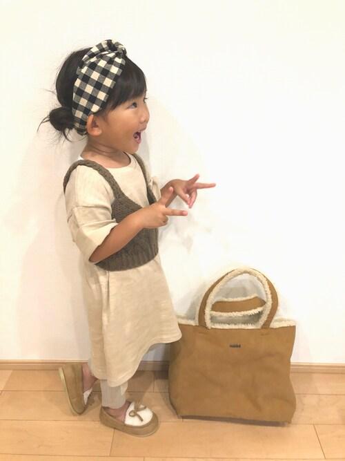 mei♡hinaさんのワンピース「ニットビスチェ付ワンピース(petit main|プティマイン)」を使ったコーディネート