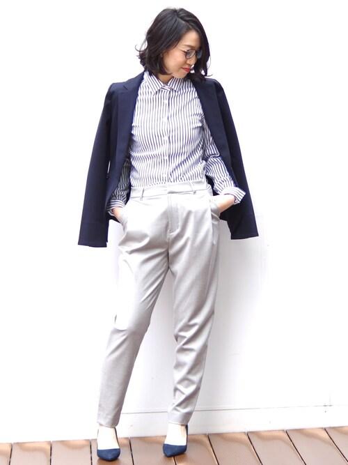 NARA CAMICIE ECサイトEmmaさんのスーツジャケット「【セットアップ対応】ポンチテーラードジャケット(NARACAMICIE|ナラカミーチェ)」を使ったコーディネート