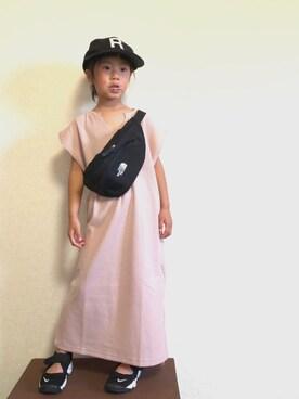 9822a9dfaf485 kotochanさんのワンピース「 ママとおそろい ワッフルスキッパーノースリーブワンピース(boheme