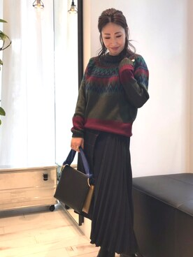 LOVELESS心斎橋|nakagawaさんの「ROULD YOKE MULTI JACQUARD KNIT(WHITE MOUNTAINEERING)」を使ったコーディネート