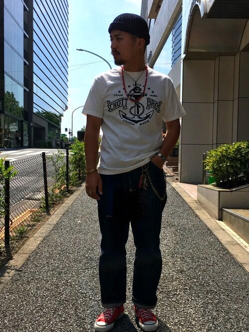Schott Grand Store TOKYOHAYATOさんのTシャツ/カットソー「Schott/ショット/ SCHOTT BROS. T-SHIRT(schott|ショット)」を使ったコーディネート